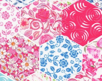 """60 Liberty Fabric Hexagons 1 1/4"""" Sides Die Cut Selection 475"""