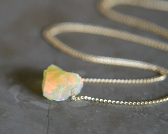 Raw Ethopian Opal Nugget Necklace