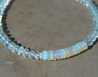 Aquamarine and Ethiopian Opal Stacking Bracelet