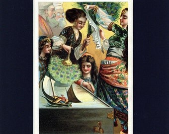 Antique circa 1914 Print of Gulliver Becomes a Gift to the Queen of Brobdingnag