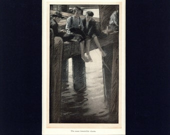 Boys Fishing from Pier Antique 1910 Illustration by F. Walter Taylor