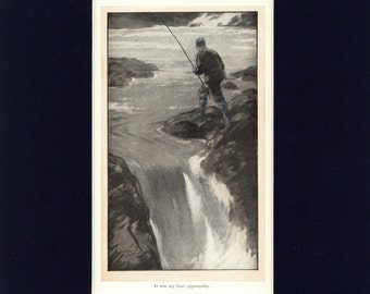 Fisherman's Luck Antique 1910 Illustration by F. Walter Taylor