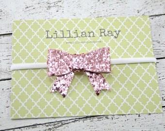 Chunky Glitter Bow Nylon Headband Pink or White