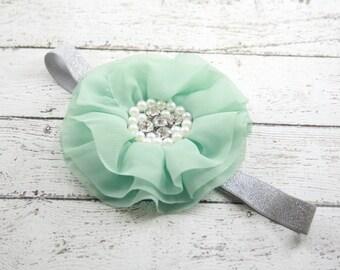 Gray dusty mint silver pearl flower headband