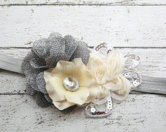 Silver gray cream ivory rhinestone flower headband