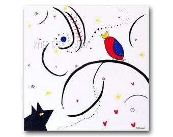 Colorful Modern Pop Art Painting Abstract Fine Art Acrylic 20x20 canvas Primary Color Large Wall Decor Contemporary Art Miro Bird Swirls Joy