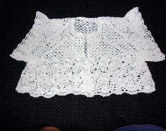 Thread Crochet Baby  Sweater Sacque..Beautiful Keepsake