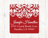 personalized return address LABEL - LACY EDGE - sticker - square label - set of 48 labels