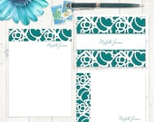 complete personalized stationery set - STENCIL BORDER - personalized womens stationary set - note cards - notepad - choose color
