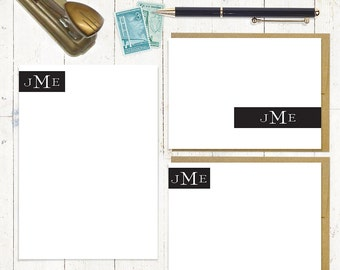 complete personalized stationery set - STATELY MONOGRAM - personalized stationary set - note cards - notepad - monogrammed
