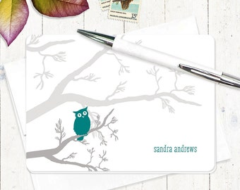 personalized note cards - OWL ON BRANCH - set of 8 folded cards - stationery set - stationary