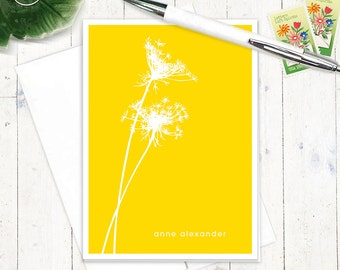 personalized stationery set - QUEEN ANNES LACE - set of 8 folded note cards - choose color - personalized stationary