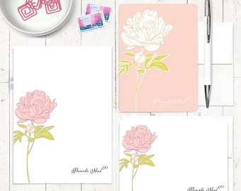 complete personalized stationery set - PRETTY PEONY - personalized stationary letter writing set - notepad - note card - choose color