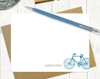 personalized stationery set - VINTAGE BOYS BICYCLE - set of 12 flat cards - personalized stationary - men's bike
