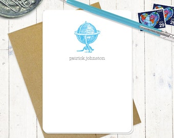 personalized note cards stationery set - VINTAGE GLOBE - set of 8 folded cards - personalized stationary - choose color