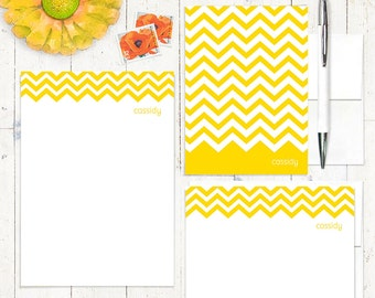 complete personalized stationery set - CHEVRON STRIPE - personalized stationary - choose color