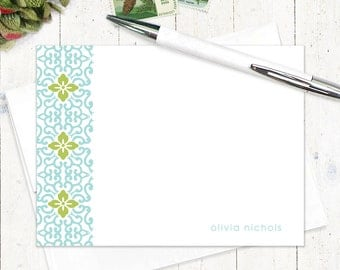 personalized stationery set - ORNAMENTAL FLOWER - set of 12 flat note cards - pretty stationary