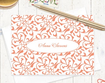 personalized stationery set - LACY FLOURISHES - set of 8 - personalized stationary folded note cards - choose color