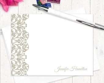 personalized flat note cards set - LACY EDGE - set of 12 - fancy stationery - custom stationary