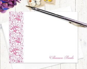 personalized stationery set - NOT TOO FANCY - set of 12 flat note cards - feminine stationary set