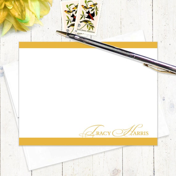 personalized stationary set - ELEGANT INITIALS - set of 12 - personalized stationery flat note cards - choose color