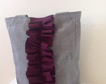 Suiting Fabric Handbag/ Plum/ Fall Bag/ Purse/ Plaid