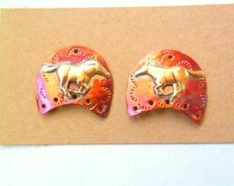 Artisan Running Horse Copper and Brass Earring Findings Pair