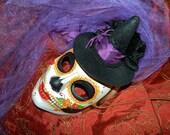 Dia de los Muertos Witchy Woman Skull Mask
