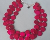 Ruby Red Necklace Statement Necklace Chunky Multi Strand Bib