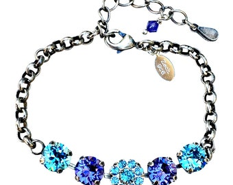 Swarovski Elements Crystal Bracelet, Tanzanite and Aqamarine Chaton Crystal Bracelet, Tennis Bracelet, March Birthstone Bracelet