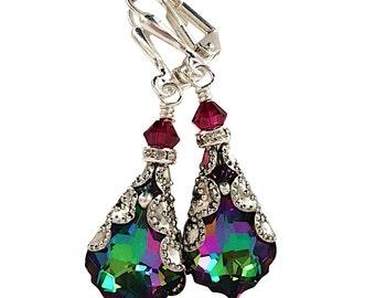 Swarovski Elements Crystal Earrings, Electra Crystal Baroque Earrings, Vintage Crystal Earrings, Dangle Earrings