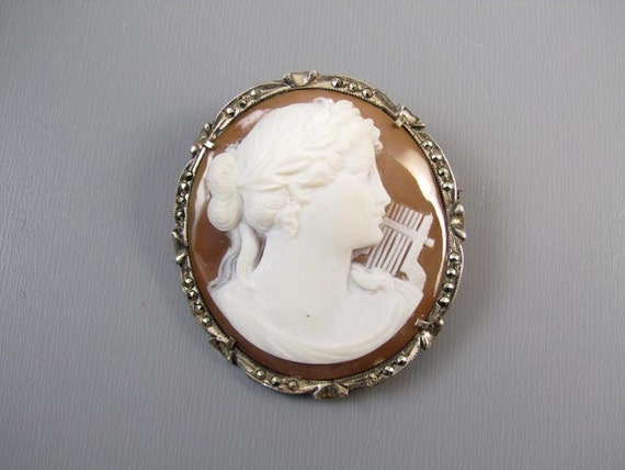 Antique Edwardian 800 silver shell cameo marcasite brooch pin pendant Terpsichore music muse with lyre harp