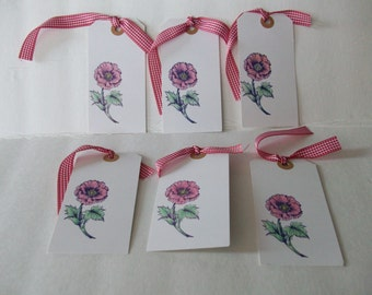 Handmade Tags, Handmade Red Poppy Tags, Handmade Flower Tags, Red and White Tags