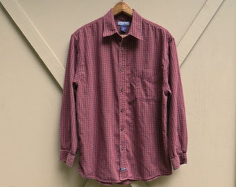 vintage Structure Deep Red and Brown Plaid Button Down Cotton Shirt
