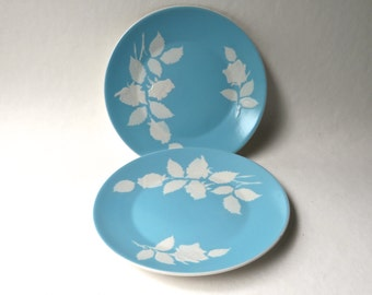 Mid Century vintage Harmony House Cameo Rose Salad Plates / Set of 2 / Aqua Blue and Embossed White Rose Plates