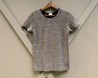 90s vintage Armani Collezioni Mocha Brown and Black Textural Knit Short Sleeve Woolen Sweater