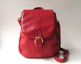 80s/90s vintage Toni Red Leather Purse, Messenger Bag or Backpack