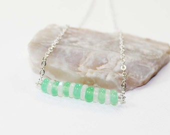 Chrysoprase and Rainbow Moonstone Gemstone . Sterling Silver Stacked Bar Necklace . White, Mint Green . N15052