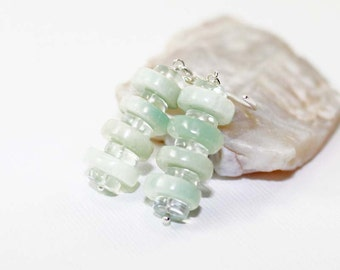 Larimar and Green Amethyst Gemstone . Sterling Silver Stacked Earrings . Sea Foam Green, White, Light Green . E15047