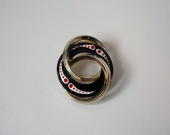 Vintage Gold tone with Black, White and Red Enameled Interlocked Circles Brooch