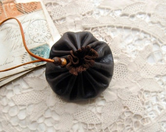 Whisper - Miniature Leather Book-Earrings, Tea Stained Pages, Mini Leather Pouch, OOAK