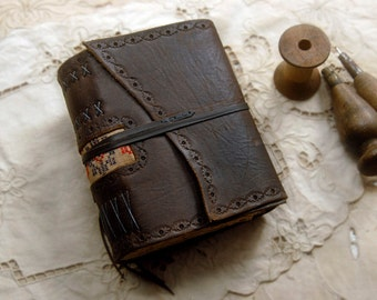 The Wandering Gypsy - Rustic Leather Journal, Dark Brown, Vintage Fabric, Tea Stained Pages, OOAK