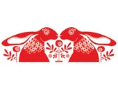 Red Hares - Open Edition Giclee Printed In a Rich Folky Red Ink