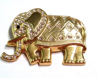GOP Elephant Figural Gold Tone Pin Vintage Brooch Rhinestones