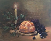 Kitchen Wall Art Candle Oil Painting Bread Hope Grapes Valentine Gift