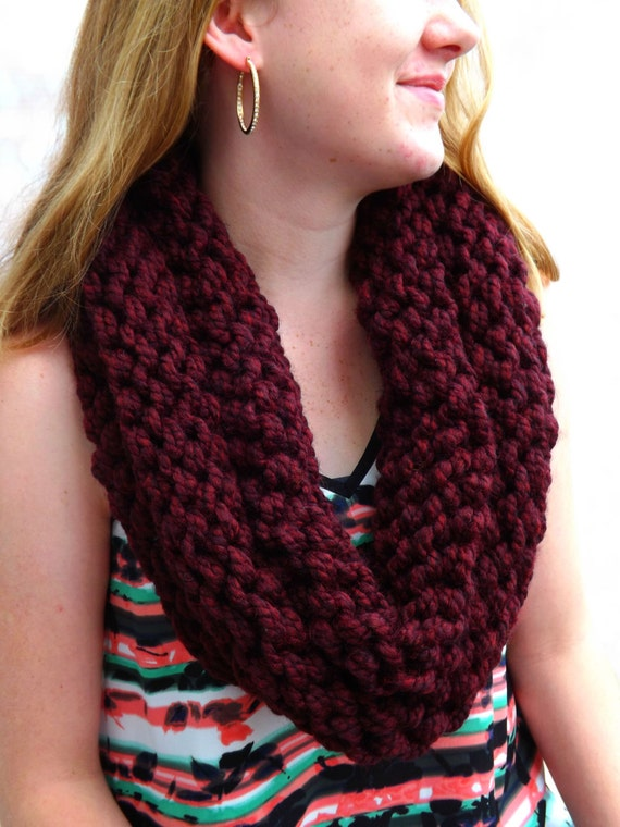 Wool Knit Cowl Wine Colored Layered Cowl Wool Blend Cowl Winter Cowl - Warm Cowl - Wool Chunky Cowl - Infinity cowl - Circle Cowl