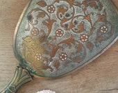 Vintage Etched Brass Hand Mirror, for a Vanity or Bathroom