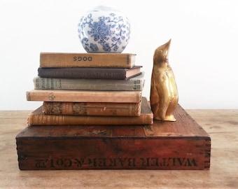Sleek Brass Penguin, Vintage Gold Figurine