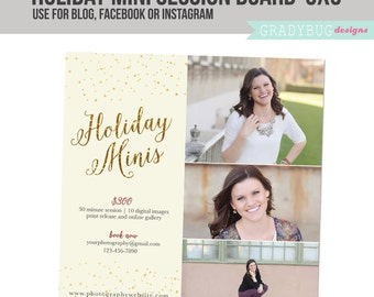 Holiday Mini Session Template - Photography Marketing board - INSTANT DOWNLOAD - Gold Glitter - Blog Facebook Instagram Ready