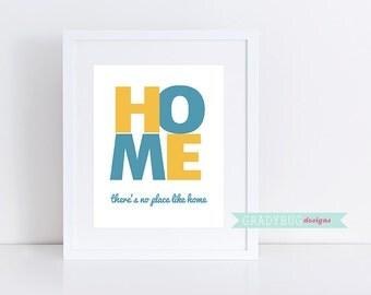 HOME Digital Art Printable Wall Decor Home Print Home Decor Yellow Blue Digital Print 8x10 instant download
